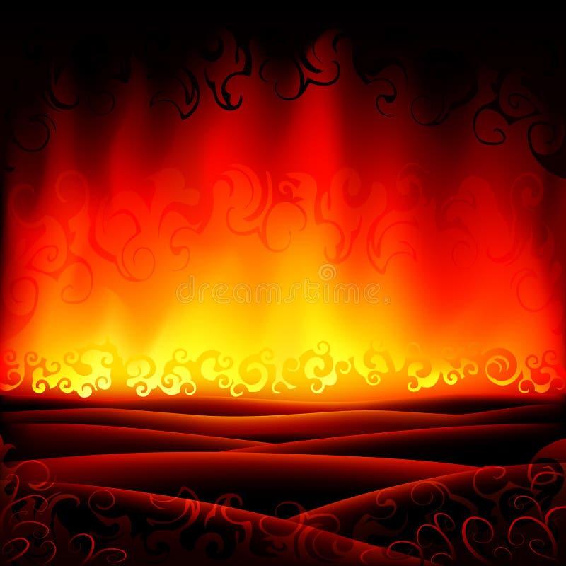 burning fantastiskt helvetelandskap stock illustrationer