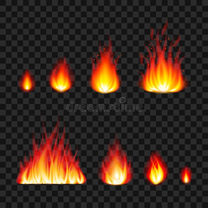 Burning fire flames photo realistic vector set royalty free illustration