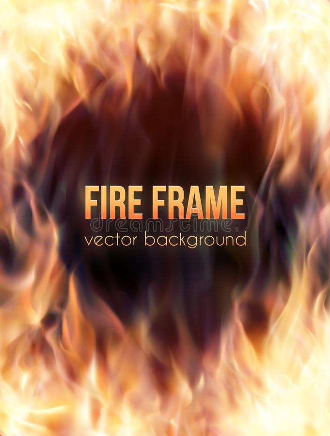 Free Burning Fire Frame. Vector Fiery Background Royalty Free Stock Photo - 67480225
