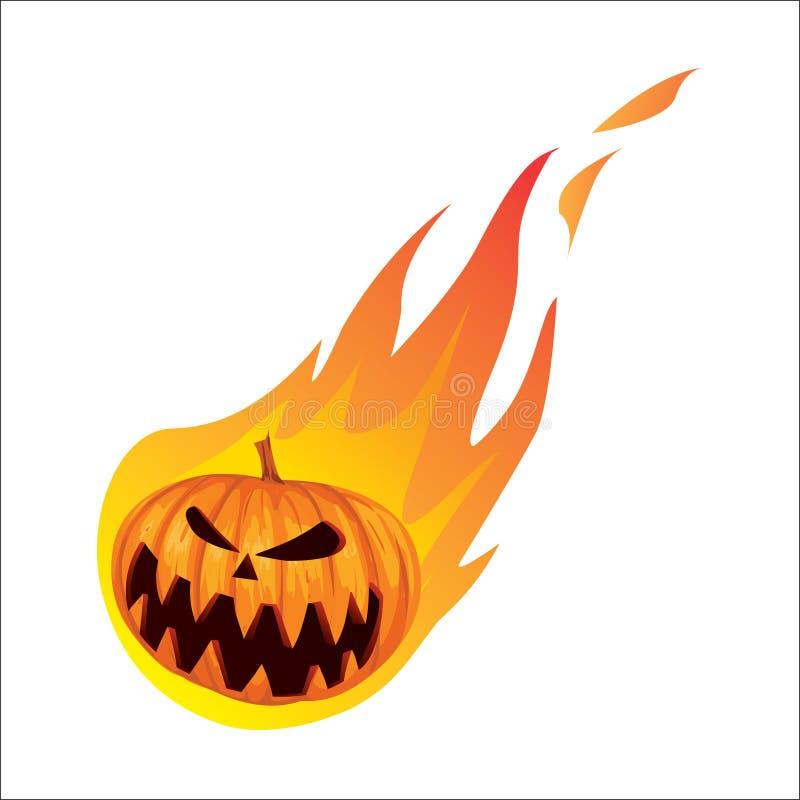Burning In Fire Jack O Lantern Halloween Pumpkin Stock Vector ...