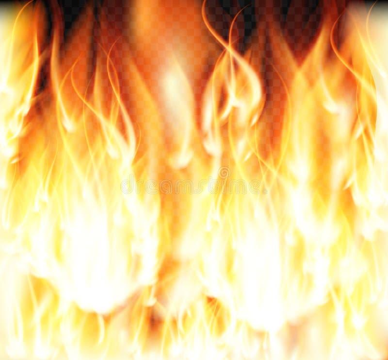 Burning Fire Special Light Effect Flames on Transparent Background. Vector Illustration stock illustration
