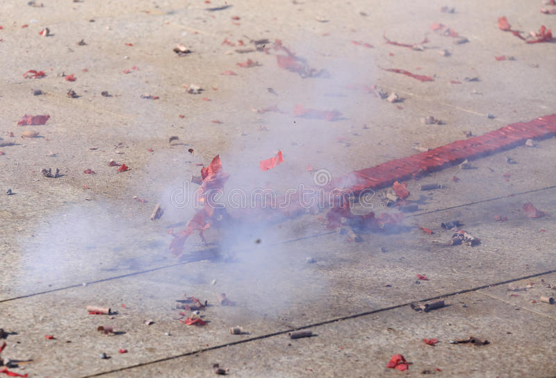 Burning firecracker. For holiday fun royalty free stock photo