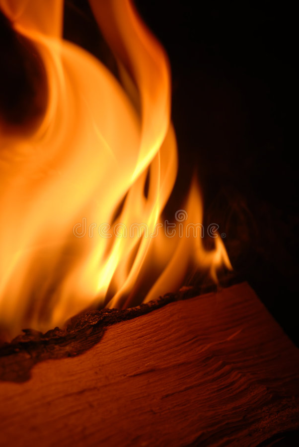Burning Firewood Stock Photo