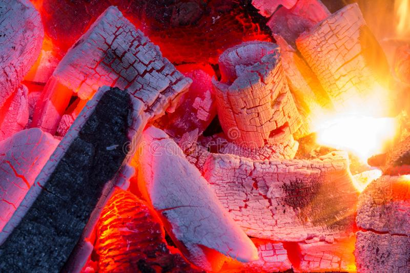 Burning firewood close up,charcoal natural as background. stock photo