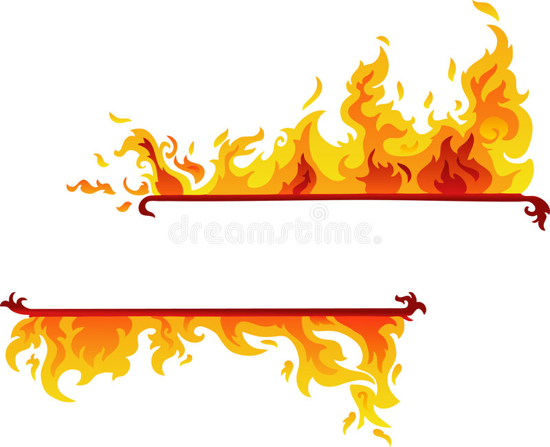 Burning Flame Banner (Vector) vector illustration