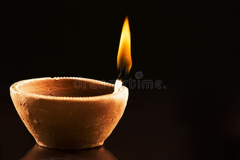 Burning Flame in Earthen Lamp