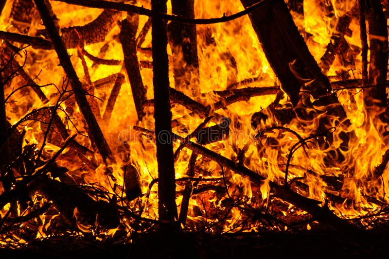 The burning flame of a night fire.  royalty free stock images