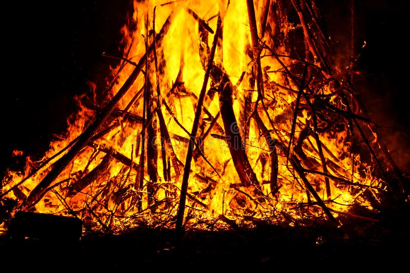 The burning flame of a night fire.  royalty free stock image