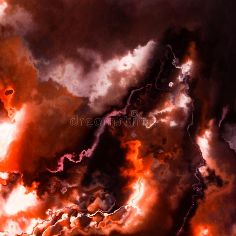 Red storm sky clouds or smoke, burning flames background stock illustration