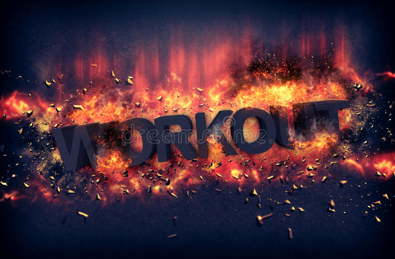 Burning flames and explosive sparks - WORKOUT. Burning orange fiery flames and explosive sparks on a dark background with the word - WORKOUT - in black text for stock image