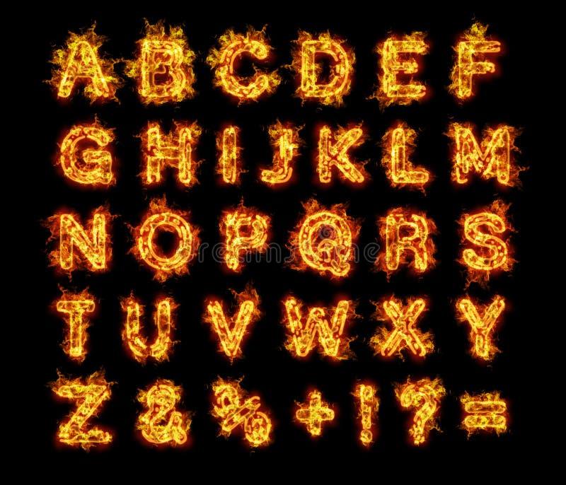 Burning flames fire alphabet letters vector illustration