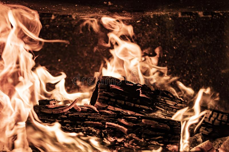 Burning flames on wood logs on a fire place stock image