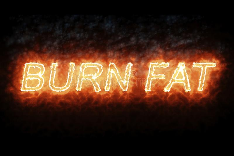 Burning font burn fat fire word text with flame and smoke on black background, concept of medical diet nutrition healthy life vector illustration