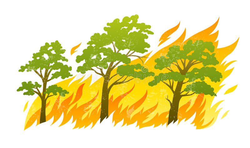 Burning forest trees in fire flames royalty free illustration