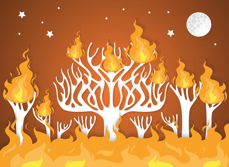 Burning forest trees in fire flames - natural disaster concept royalty free illustration