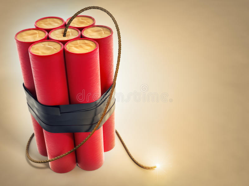 Burning fuse with dynamite explosives. 3d-illustration stock illustration