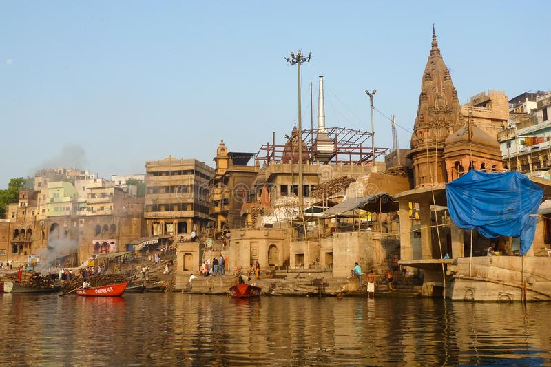 Burning Ghat at Varanasi, India royalty free stock photos