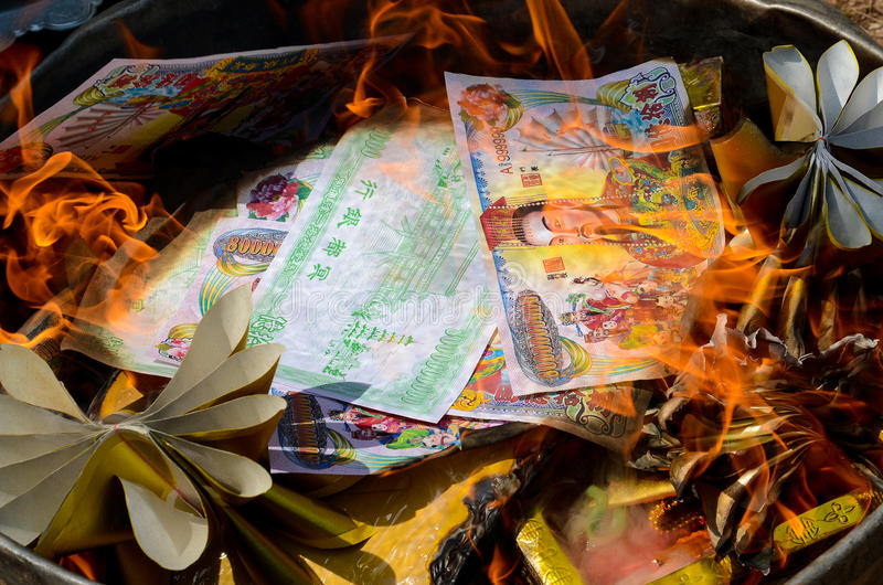 Burning Ghost money paper stock photos