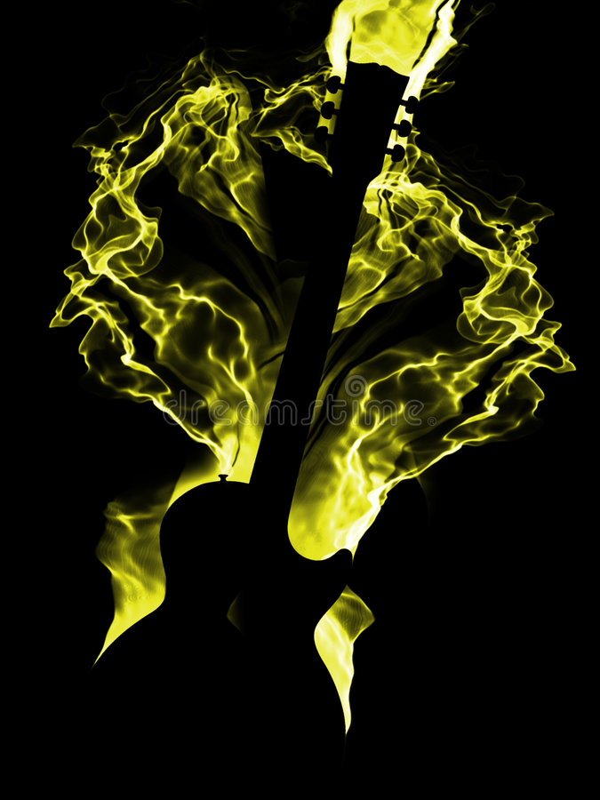 burning gitarr royaltyfria foton
