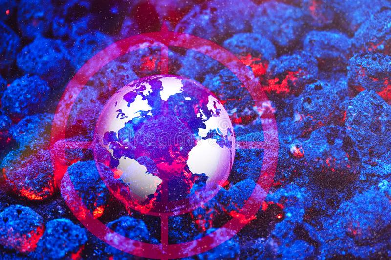 Burning globe earth in target scan Elements of this image furni royalty free stock photos