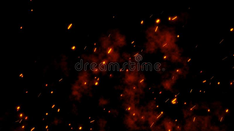 Burning glowing red hot sparks, embers fly from large fire in the night sky royalty free illustration