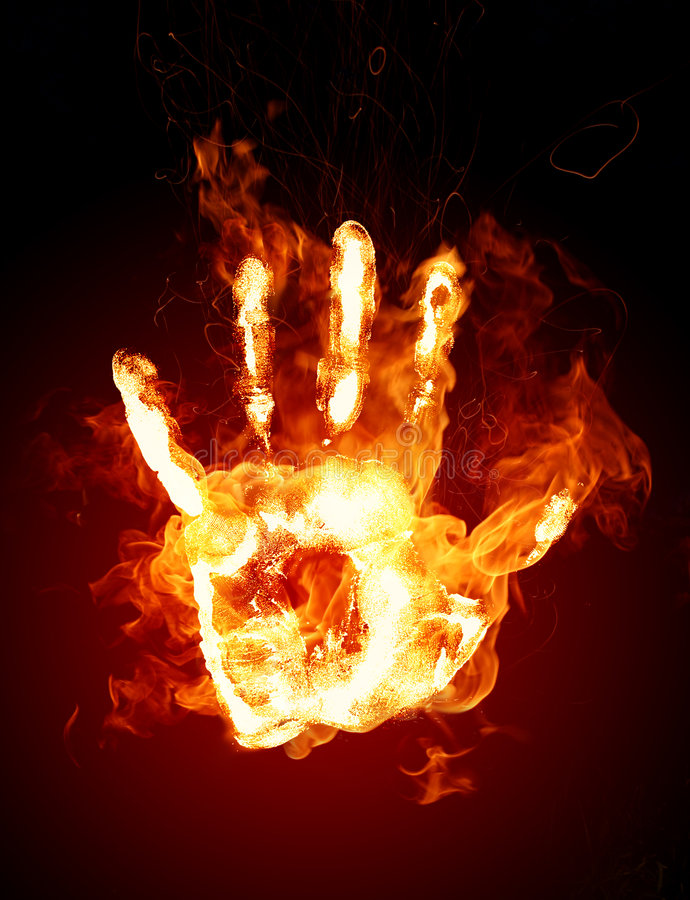 Burning hand stock illustration