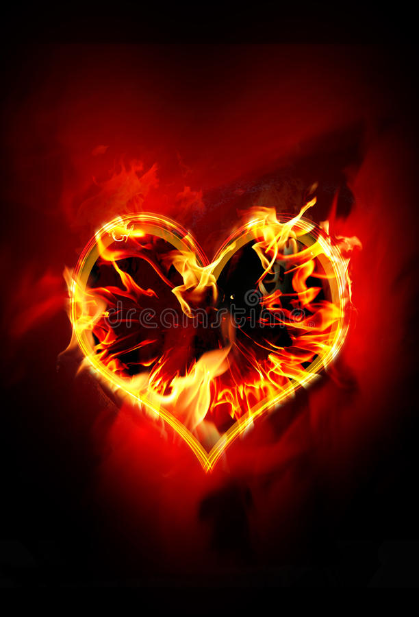 Burning heart. Composition with a burning heart vector illustration