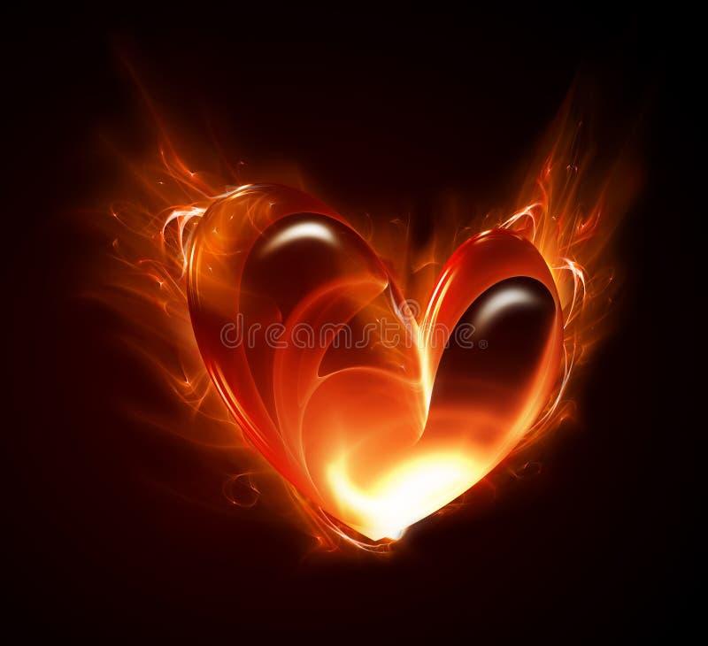Burning heart stock illustration