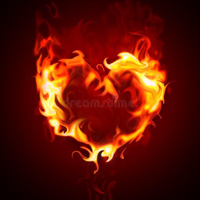 Burning heart vector illustration