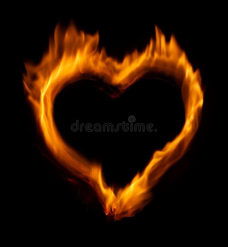 Burning heart stock photo