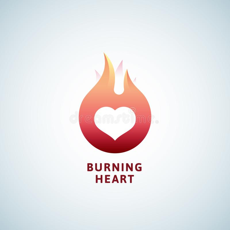 Burning Heart Abstract Vector Sign, Symbol or Logo Template. Negative Space Emblem Concept. stock illustration