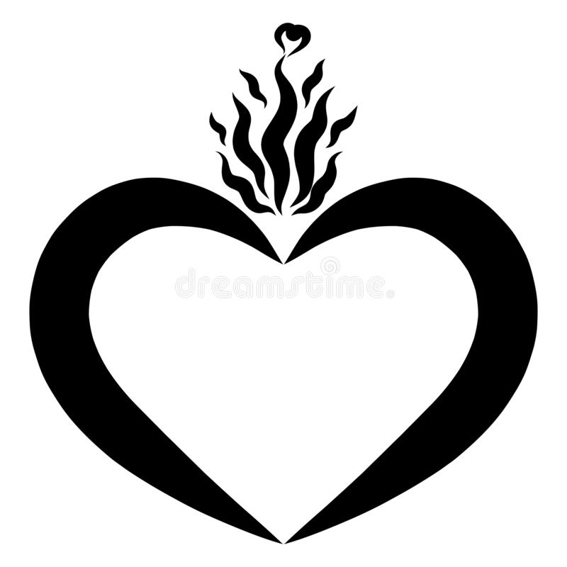 Burning heart, black pattern, heart shaped frame with flame royalty free illustration