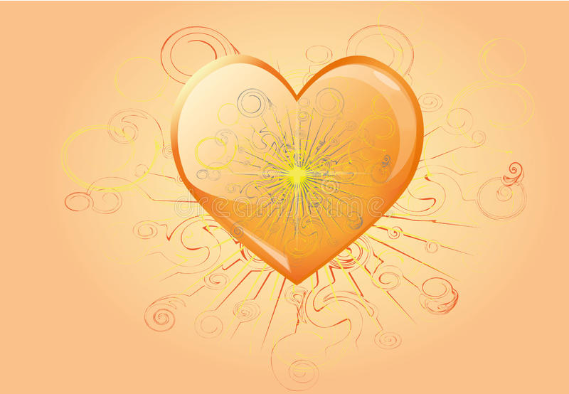 Burning heart vector illustration