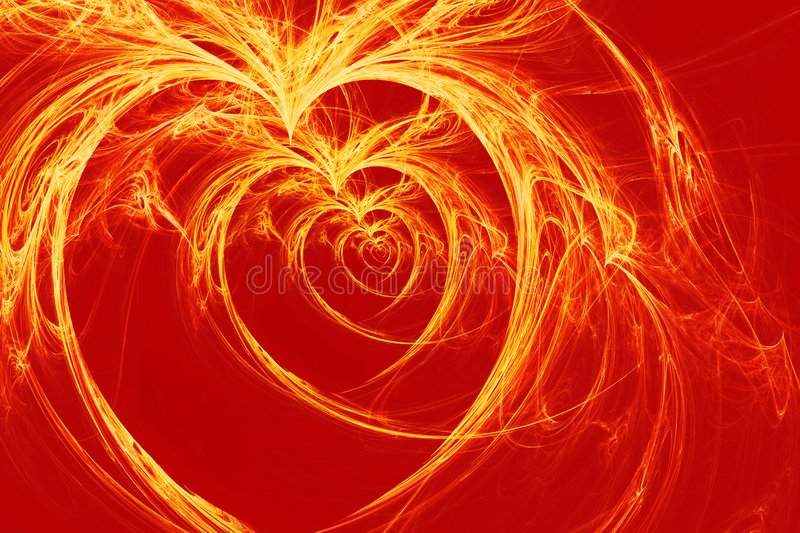 Burning hearts. Yellow hearts on red background, hq render royalty free illustration