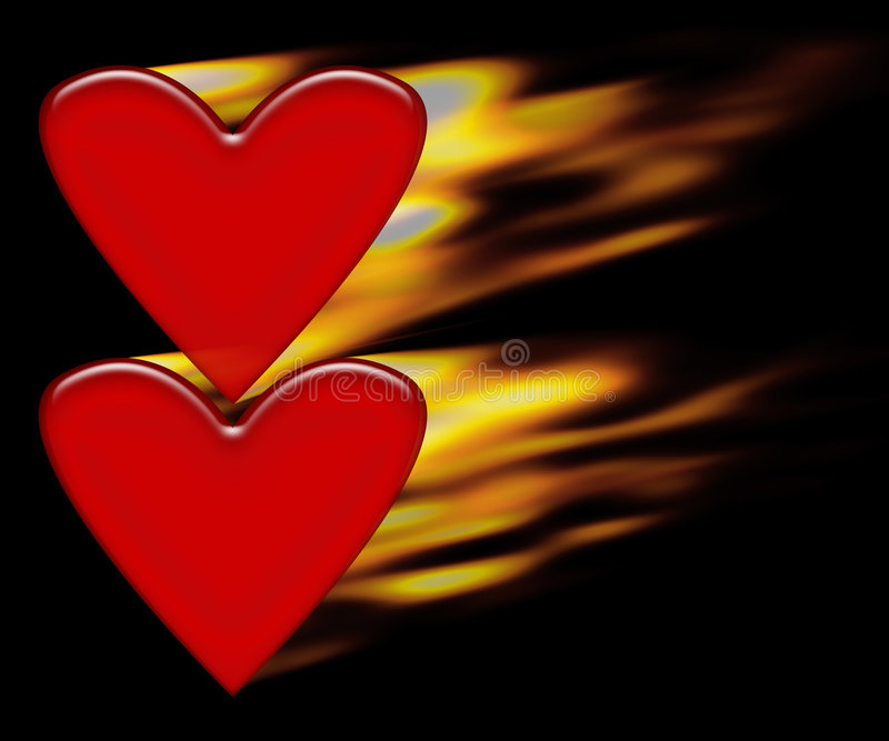 Burning hearts vector illustration