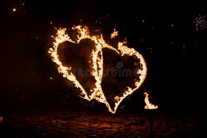 Burning hearts royalty free stock photography
