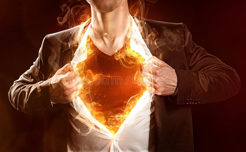 Burning Hero royalty free stock photo
