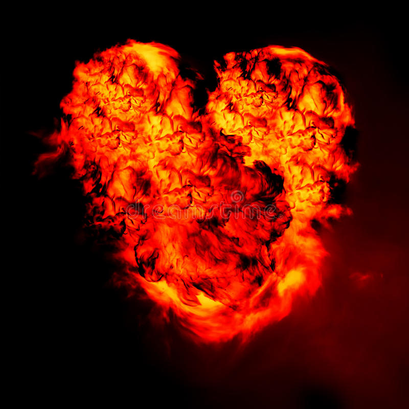 burning hjärta royaltyfri foto