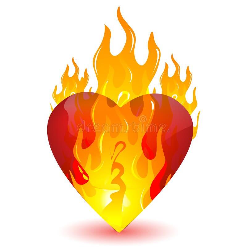 burning hjärta royaltyfri illustrationer
