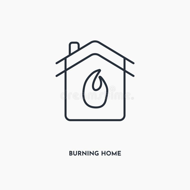 Burning home outline icon. Simple linear element illustration. Isolated line Burning home icon on white background. Thin stroke stock illustration