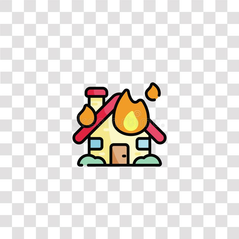 Burning house icon sign and symbol. burning house color icon for website design and mobile app development. Simple Element from. Firefighter collection isolated vector illustration