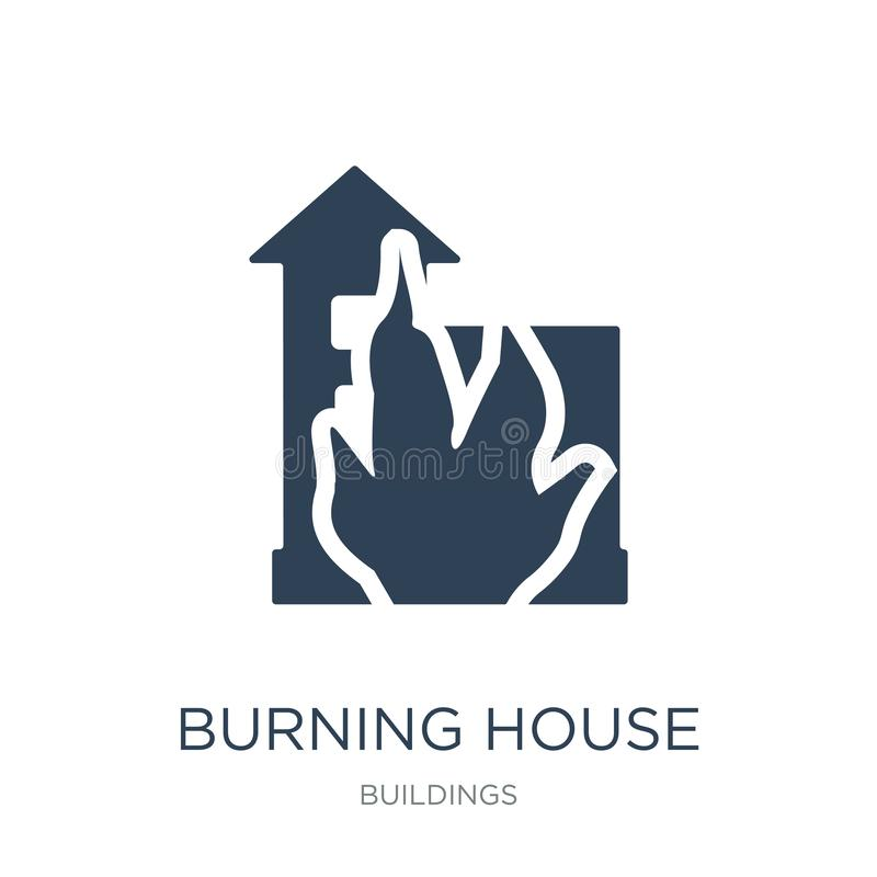 Burning house icon in trendy design style. burning house icon isolated on white background. burning house vector icon simple and. Modern flat symbol for web royalty free illustration