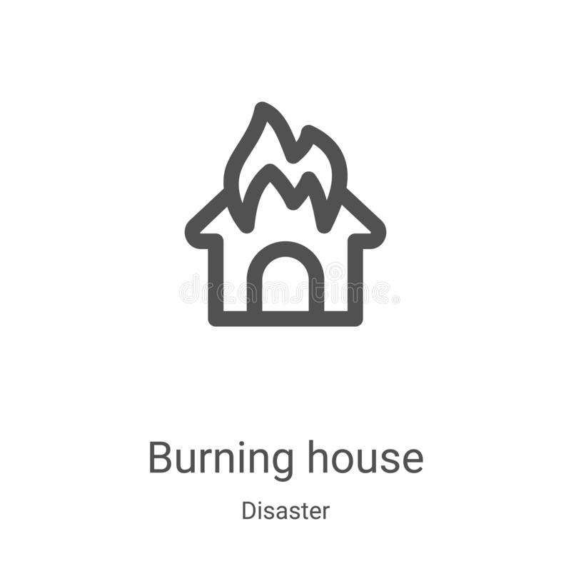 burning house icon vector from disaster collection. Thin line burning house outline icon vector illustration. Linear symbol for royalty free illustration