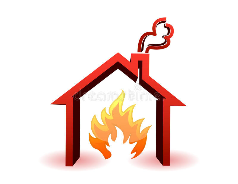 burning hus royaltyfri illustrationer