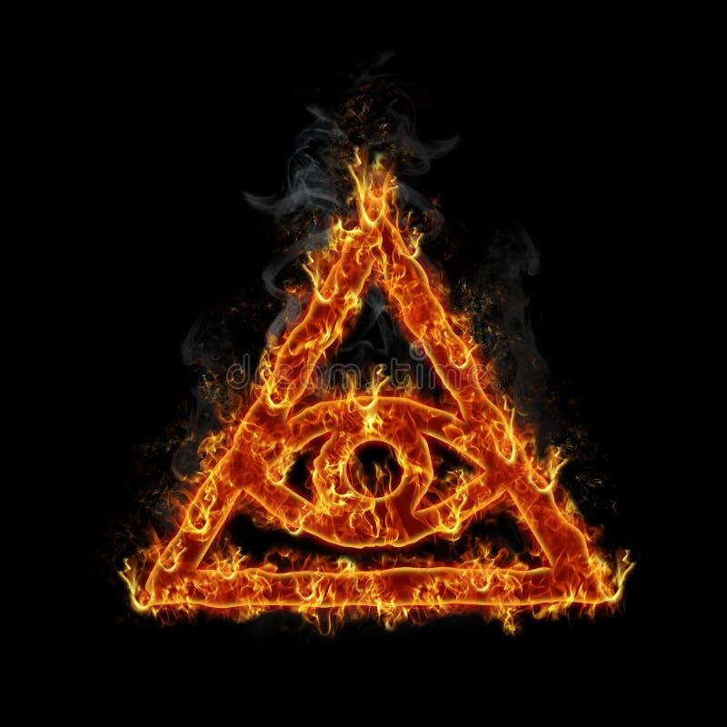 Burning illuminati symbol stock illustration