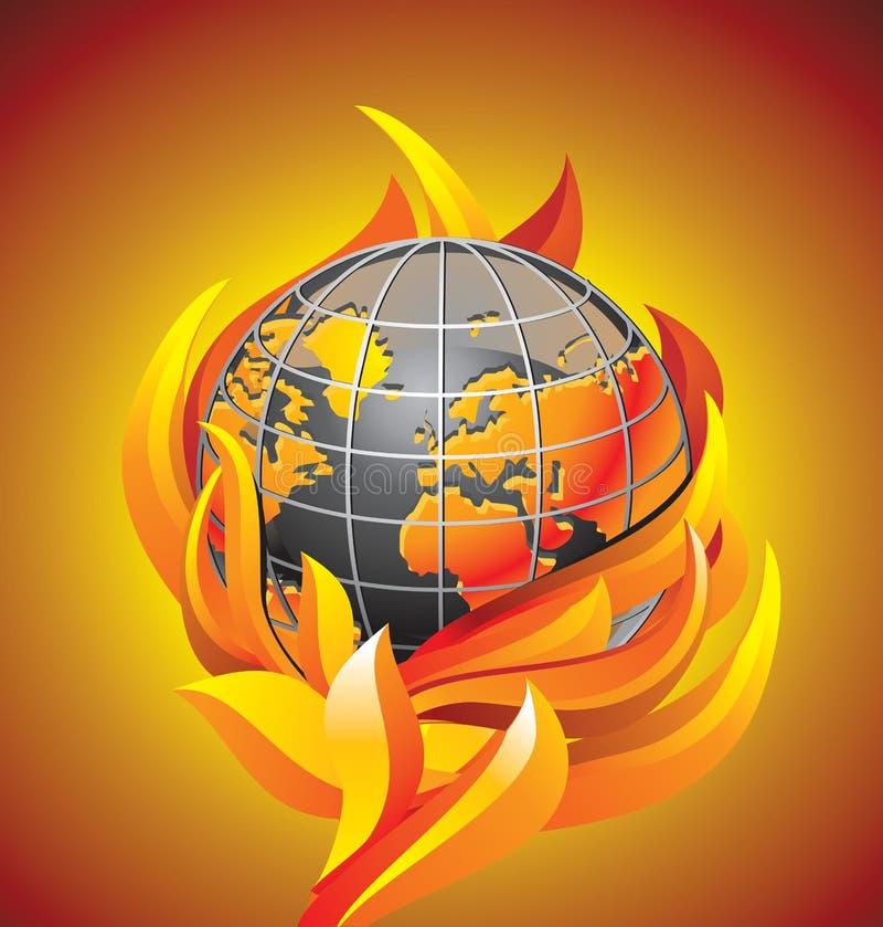 burning jordklot för apokalyps stock illustrationer
