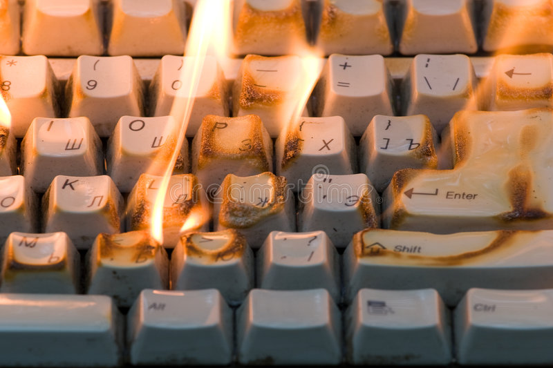 The burning keyboard royalty free stock photography