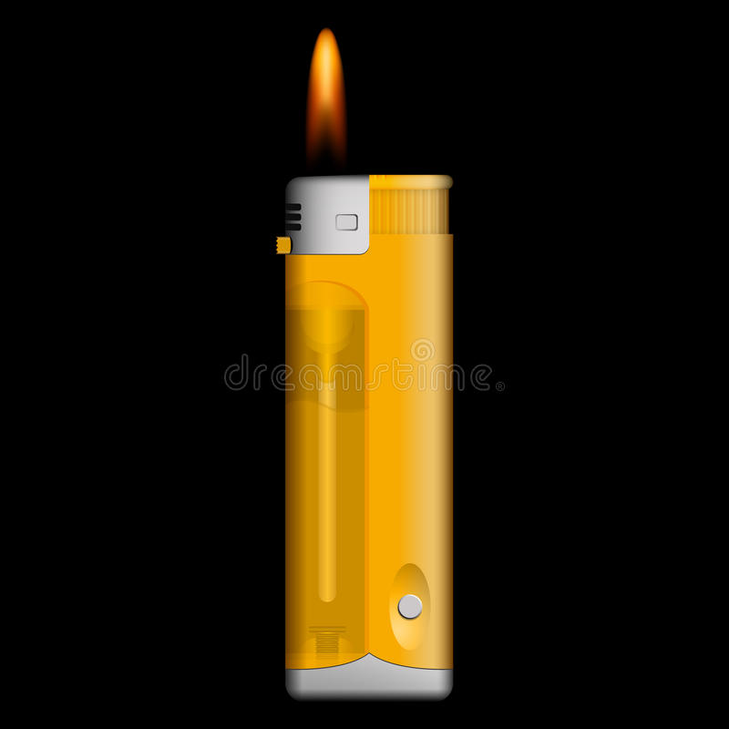 Burning lighter on black background. Vector burning yellow lighter on black background royalty free illustration