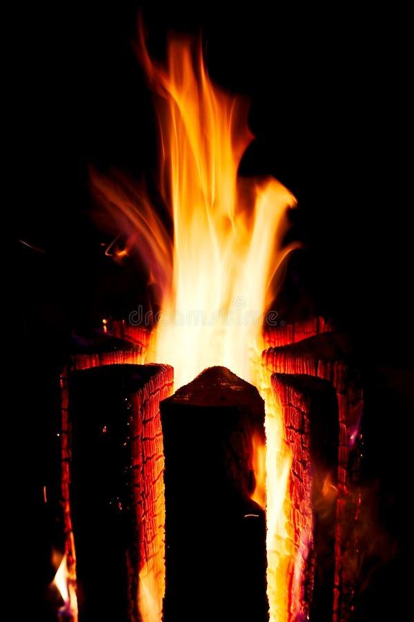 Burning log stock images