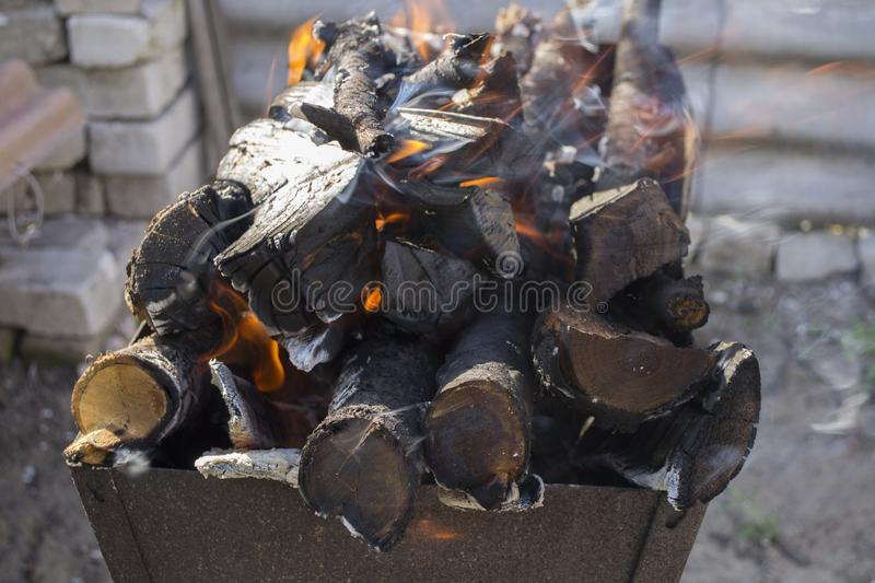 Burning logs. In the iron grill royalty free stock photography
